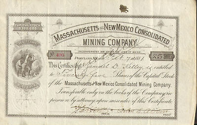 1881 Massachusetts New Mexico > Portland Maine mining company stock certificate