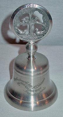 Crown & Rose 12 Days Of Christmas Pewter Bell #4 Four Calling Birds 1981