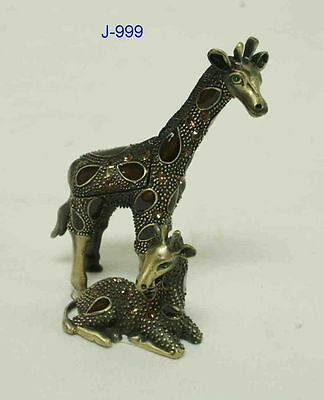 NEW PEWTER GIRAFFE WITH BABY BOX