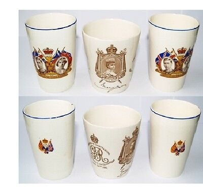 Small Group of Coronation Mugs - George V Royal Doulton & 2 x George VI Mugs
