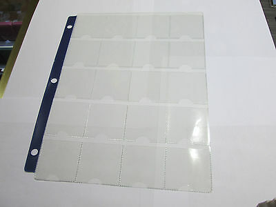 """20 Pockets Coin Sheet - Album Page Fits 2"""" X 2"""" Holders - 3 Rings With Blue Band"""
