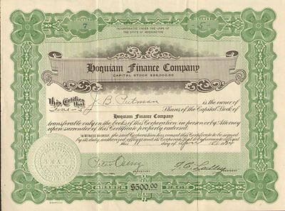 Hoquiam Finance Company > 1924 Washington stock certificate share