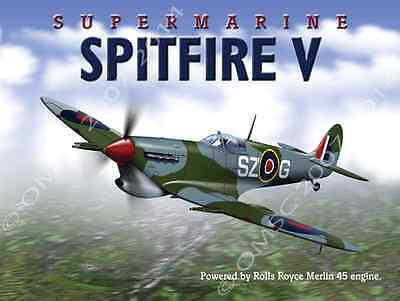 Spitfire British Royal Air Force Metal Sign, Vintage WWII, Military, Airplanes