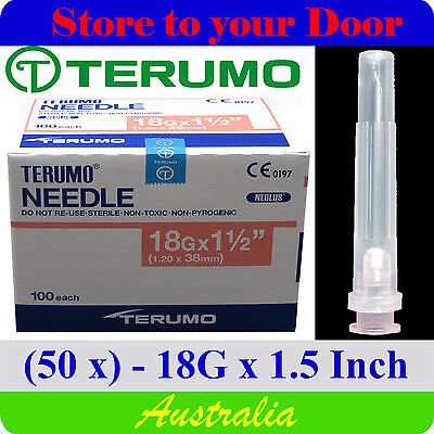 (50) 18G x 1.5 Inch Terumo Needles / Medical Hypodermic Syringe Tips - Sharps