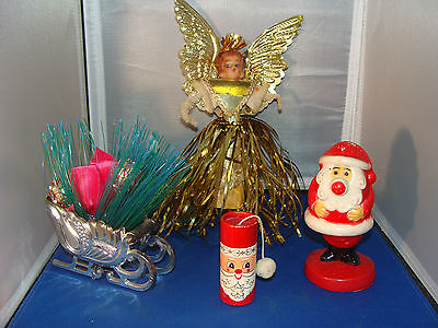 (Lot of 4) Vintage Christmas Collectibles Bobblehead Angel Tree Topper