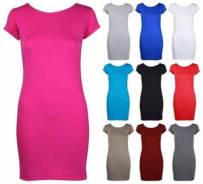 Womens Bodycon Stretch Fitted Long Top Ladies Cap Sleeve Plus Size T-Shirt Dress