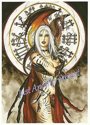 Nene Thomas Print 5x7 Lithograph Fairy Faery Witching Hour Witch Dragon Black
