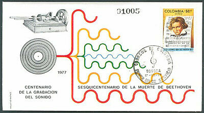 BEETHOVEN - COLOMBIA Mi # 1330 FDC 1977 VF