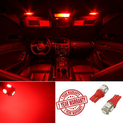 2pcs Red T10 Wedge Interior Dome Map 10-SMD 12V LED Light Bulb 912 168 W5W 194