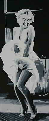 Marilyn Monroe popart style Painting 40x16 NOT a print or poster Framing Avail.