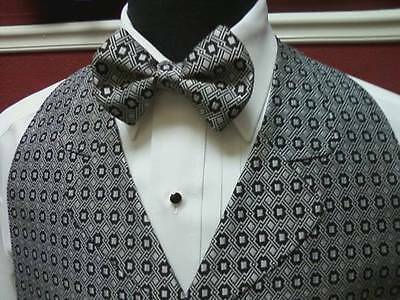 Man's Silver & Black block patterned Vest & Bow Tie Chaps 905