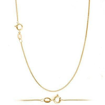 18K Gold over Sterling Silver 1mm Thin Box Chain Necklace for Pendants ALL SIZES