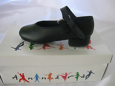 Annara Black Leather Tap Shoes, Capezio or Annara Plates Attached, Child's New