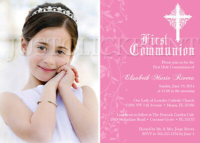 Damask Girls First Holy Communion Photo Invitation Any Color