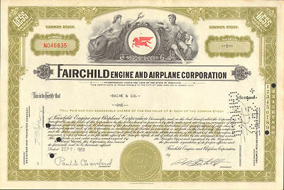Fairchild Aircraft Engine Airplane stock certificate