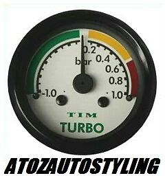 TIM Turbo Boost Gauge White Face Dial 52mm   NEW