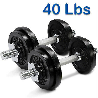 Yes4All 40 lb Adjustable Dumbbell Set Cast Iron Dumbbells Weight Plates Fitness