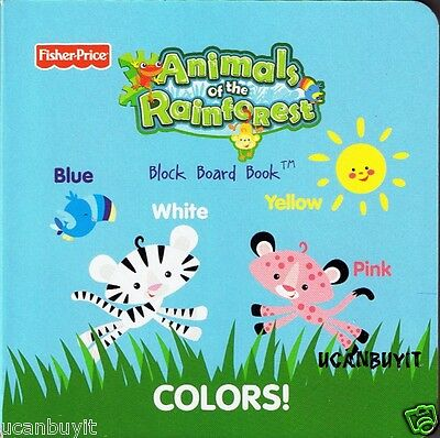 """COLORS! 5"""" x 5"""" Fisher-Price Animals of the Rainforest Block Board Book Ages 3+"""
