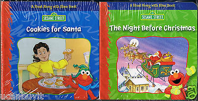 ELMO's COOKIES FOR SANTA & THE NIGHT BEFORE CHRISTMAS 2 Book Set for Tiny Hands