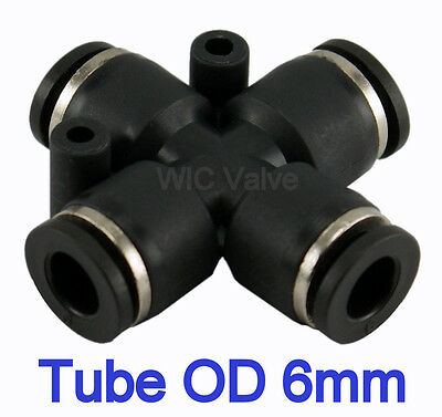 5pcs Cross Union Push In Fitting Tube OD 6mm Metric One Touch Push to Connect