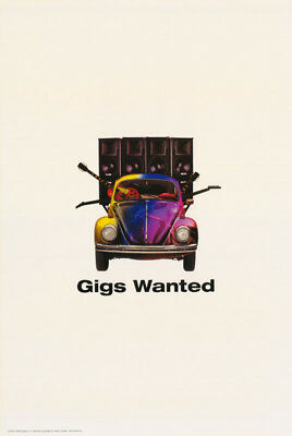 POSTER : PSYCHEDELIC:  GIGS WANTED - VW BUG - FREE SHIPPING ! #  #24-033  RC43 i
