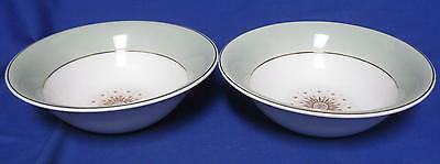 "2 Cereal Bowls 6 3/4"" Grindley Staffordshire Ironstone GRI 115 Green MOD Leaf"