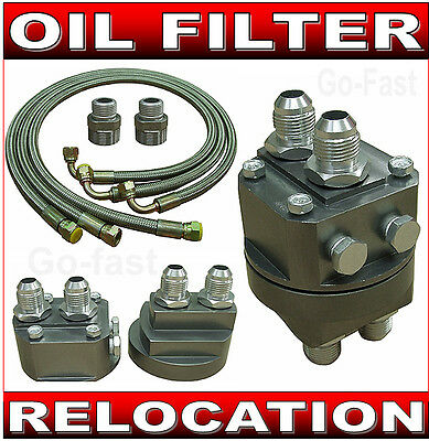 Oil Cooler Connection Kit - Oil Filter Relocation Kit & Braided Steel Oil Lines
