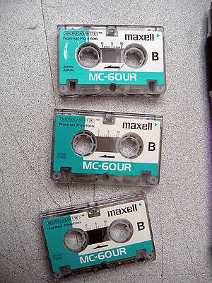 Slightly Used 3-pak MC60 minutes micro-cassette tape -SEE YOUR CHOICE w/warranty