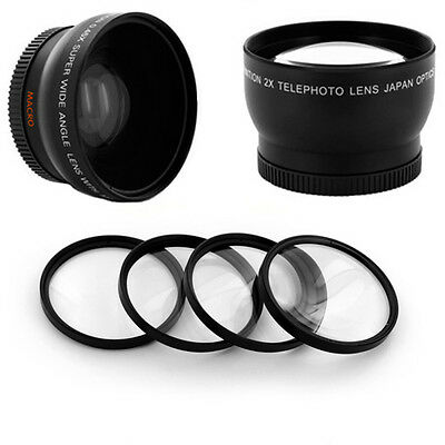 WIDE ANGLE 0.45x 52MM, TELE 2X,  MACRO LENS Filter for Pentax K2000 NEW, CAMERA
