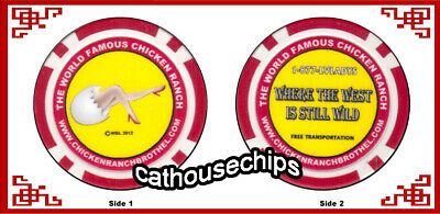 The World Famous Chicken Ranch Brothel chip BEST LITTLE CATHOUSE in NEVADA (red)