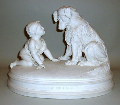 Exquisite 1890 Parian Ware Child + Dog Sculpture Can't You Talk? by R J Morris