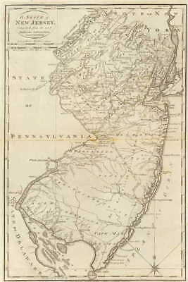 1795 NJ MAP MIDDLESEX MONMOUTH OCEAN PASSAIC GLOUCESTER COUNTY Pennsauken HUGE