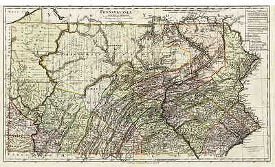HUGE  1797 PA MAP WASHINGTON ALLEGHENY WESTMORELAND County Pennsylvania SURNAMES