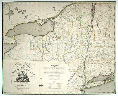 1804 NY MAP FULTON LEWIS ONTARIO COUNTY Glens Falls Greenlawn Fort Drum HUGE