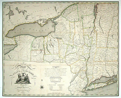1804 NY MAP Jamestown Lake Placid Churchville Edinburg NEW YORK HISTORY huge