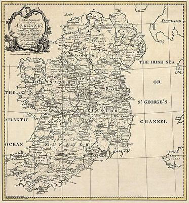 OLD IRELAND IRISH History Genealogy MAP SLIGO TIPPERARY TYRONE family SURNAMES