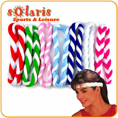 2 x Cotton Braided Headband Sports Sweatband Plush Absorbant for Fashion Comfort