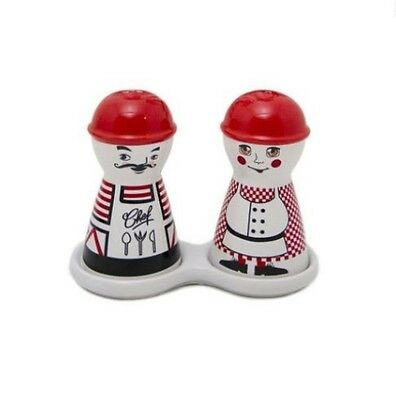 Porcelain Chef & Mama Salt and Pepper Set on Tray - Brand New