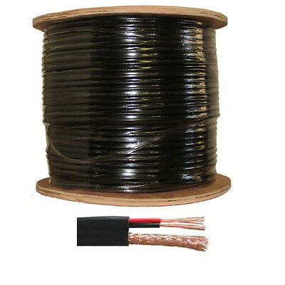 1000FT RG59 Siamese 20AWG + 2C/18AWG Coaxial Cable CCTV Black Color