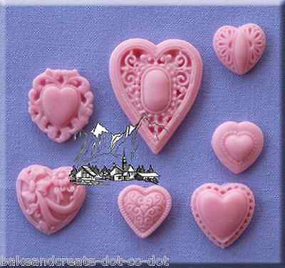 Patterned Hearts Silicone Cake Decorating Mould by Alphabet Moulds
