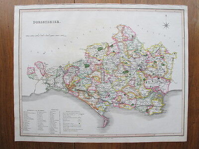 DORSETSHIRE 1831 Large Antique Map Murray Genuine Hand Colouring