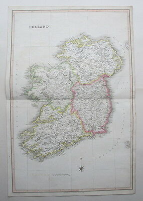 IRELAND 1831 Large Antique Map Murray Genuine Hand Colouring