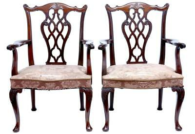 A Pair Of 1920's Swedish Chippendale Influenced Mahogany Armchairs