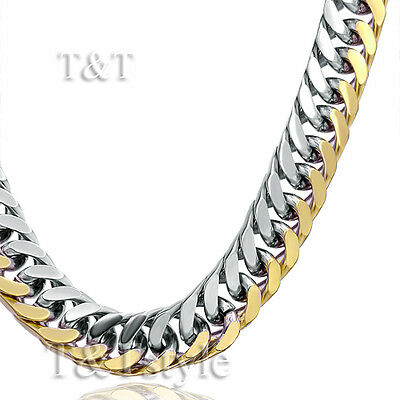 UNIQUE T&T 6mm Gold Two-Tone 316L Stainless Steel Curb Chain Necklace (C22)