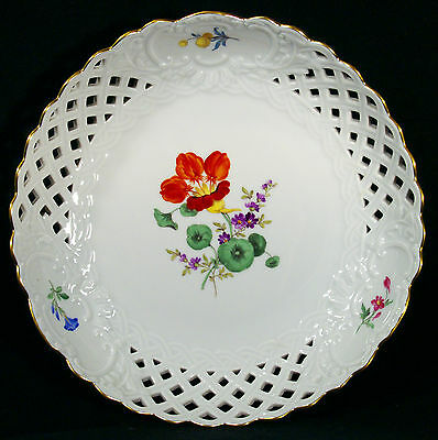 Meissen Hand Painted  Porcelain  Floral Reticulated Plate