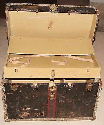 V. Rare Innovation Trunk Agency Of New York Wooden Chest - Circa 1900