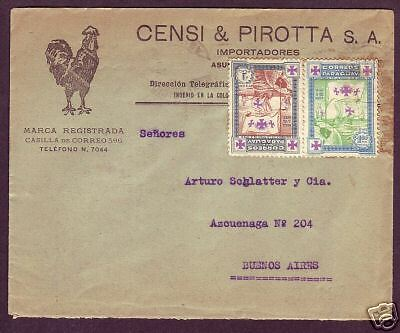 Paraguay Sc 333, 334 on 1934 Advertising Cover, Rooster