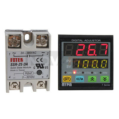Dual PID Temperature Controller Thermocouple TD4-SNR Solid state relay SSR-25 DA