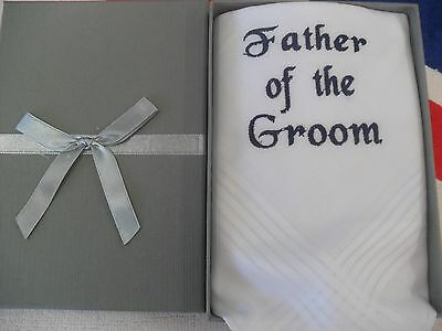 personalised dad  handkerchief in grey box perfect fathers day/wedding galant/f