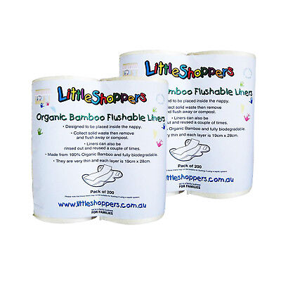 400 PACK BAMBOO Flushable Liners Nappy Insert Cloth Biodegradable NATURAL Liner
